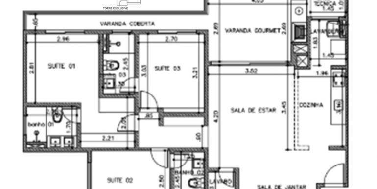 Planta final 5 de 107m² 3 suites